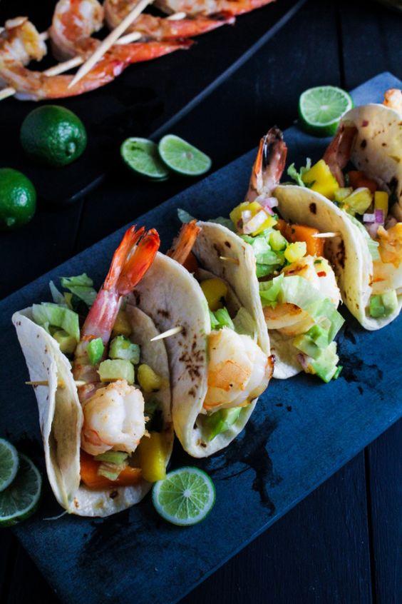 Mini Rum-Glazed Shrimp Tacos with Boozy Tropical Salsa {Katie at the Kitchen Door}