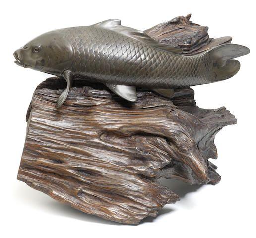 Бронза. Фигура карпа Джоши, эпоха Мэйдзи (1868-1912)