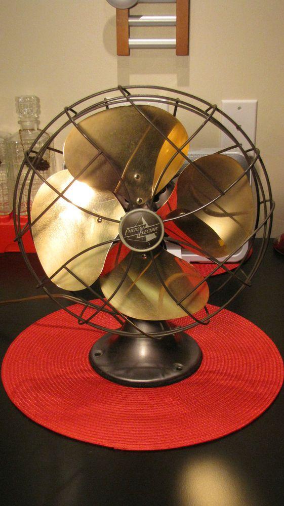 Vtg 10 Oscillating Emerson Electric Fan 6250 D Solid Brass Blades Works Great Ventilador Antigo Ventiladores Antiga