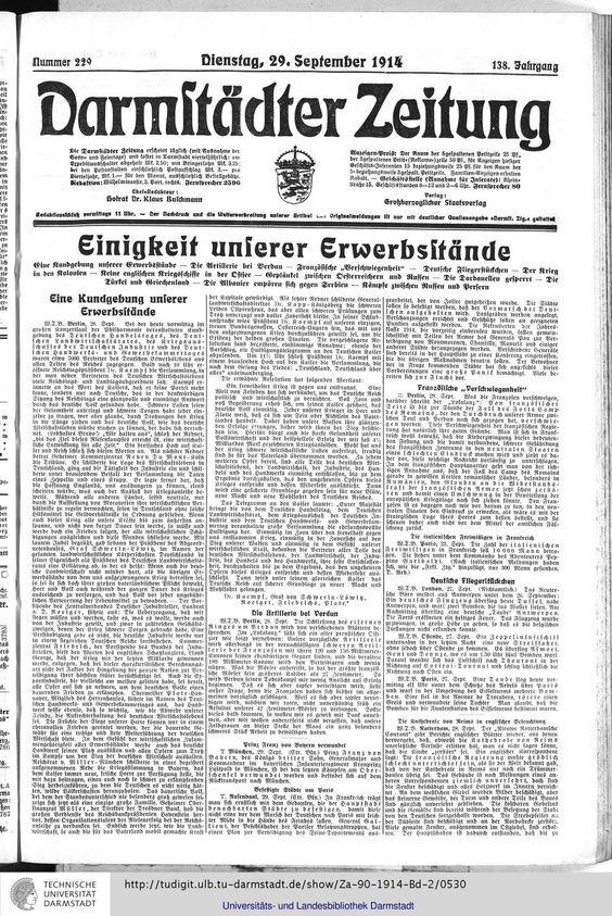 Darmstädter Zeitung: amtliches Organ der Hessischen Landesregierung (Darmstadt, 1914)