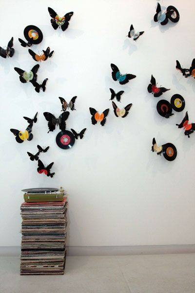 Record butterfly art: 'my back pages' by paul villinski, 2008 (vinyl records, wire, turntable, record covers)