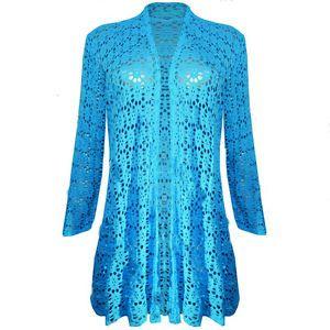 Womens-Ladies-Waterfall-Lace-Crochet-Bolero-Drape-Long-Cardigan-Plus-Sizes-Top