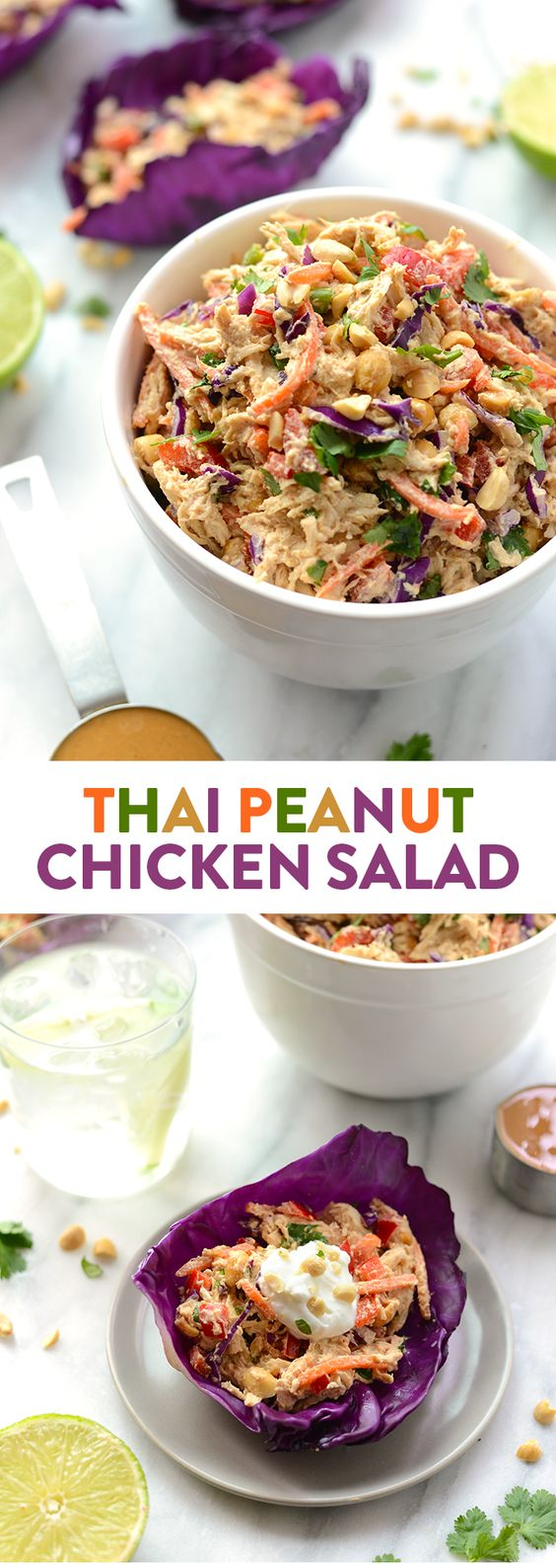 Put a healthy, creative twist on classic chicken salad by using a Greek yogurt and peanut butter base with tons of crunchy veggies and peanuts. This Thai Peanut Chicken Salad is a great meal-prep recipe!