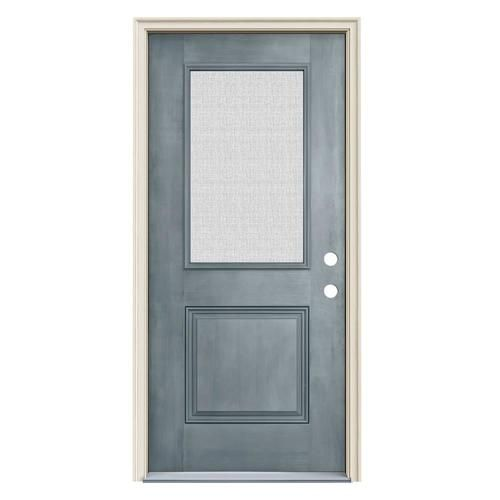 Jeld Wen Half Lite Privacy Glass Left Hand Inswing Stone Stained Fiberglass Prehung Entry Door With Insulating Core Co In 2020 Entry Doors Privacy Glass Stained Doors
