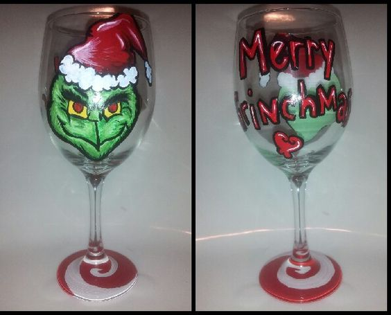 Grinch merry grinchmas wine glass hand painted