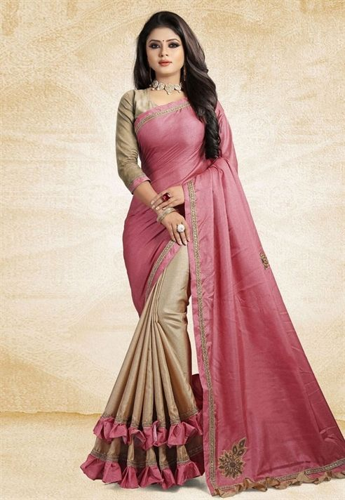 Indianclothstorepink Art Silk Half And Half Saree 161928 Ladies Blouse Designs Fancy Blouse Designs Designer Saree Blouse Patterns