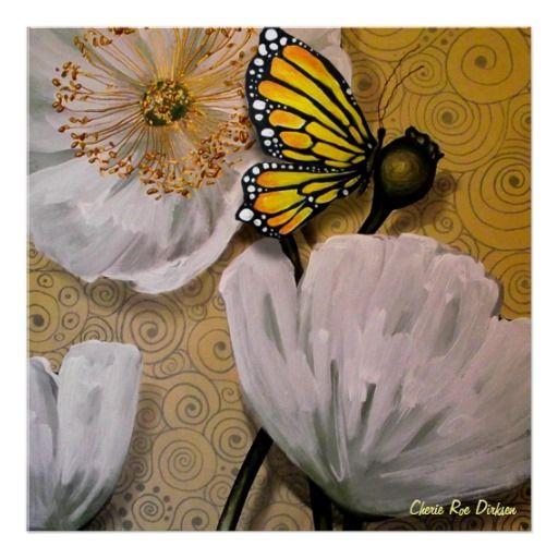 Yellow Butterfly on White Poppy Poster --- Art by South African Multi-Media Artist and Self-Empowerment Author, Cherie Roe Dirksen (www.cherieroedirksen.com).