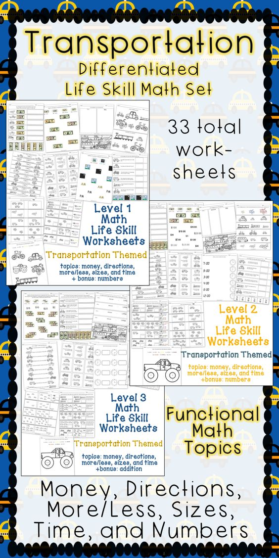 Differentiated Life Skill Math Pack Transportation – Math Skill Worksheets