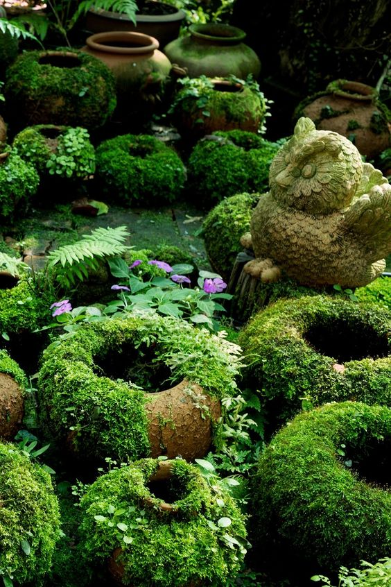 Make DIY Moss Covered Pots and Garden Figurines with Living Paint