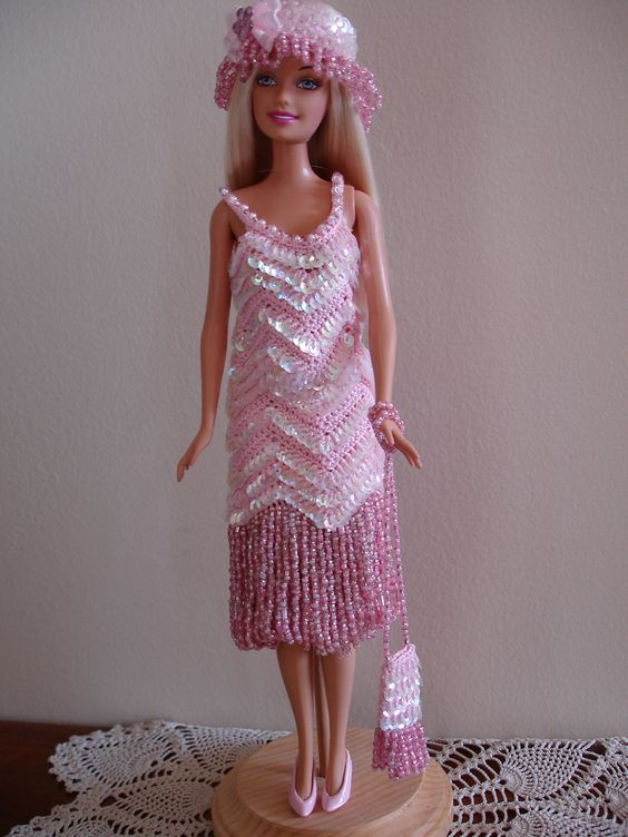 Gatsby Barbie Outfit crocheted by Cher Hamilton