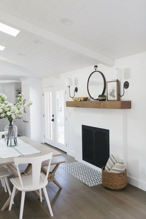white fireplace, simple, raw wood mantel