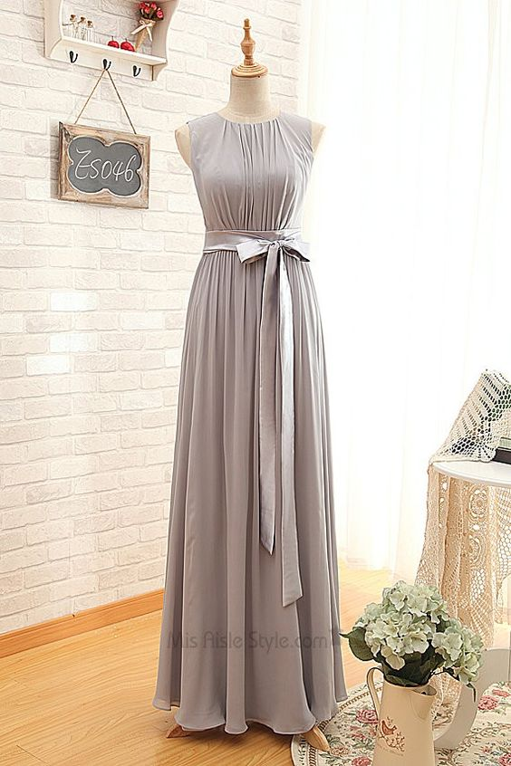 Modest Vintage Bateau Silver Bridesmaid Dress #bridesmaiddress repinned by wedding accessories and gifts specialists http://destinationweddingboutique.com