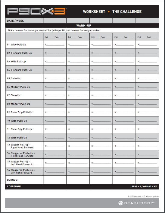 Printables Workout Worksheets workout warriors and challenges on pinterest p90x3 sheets the challenge free pdf download