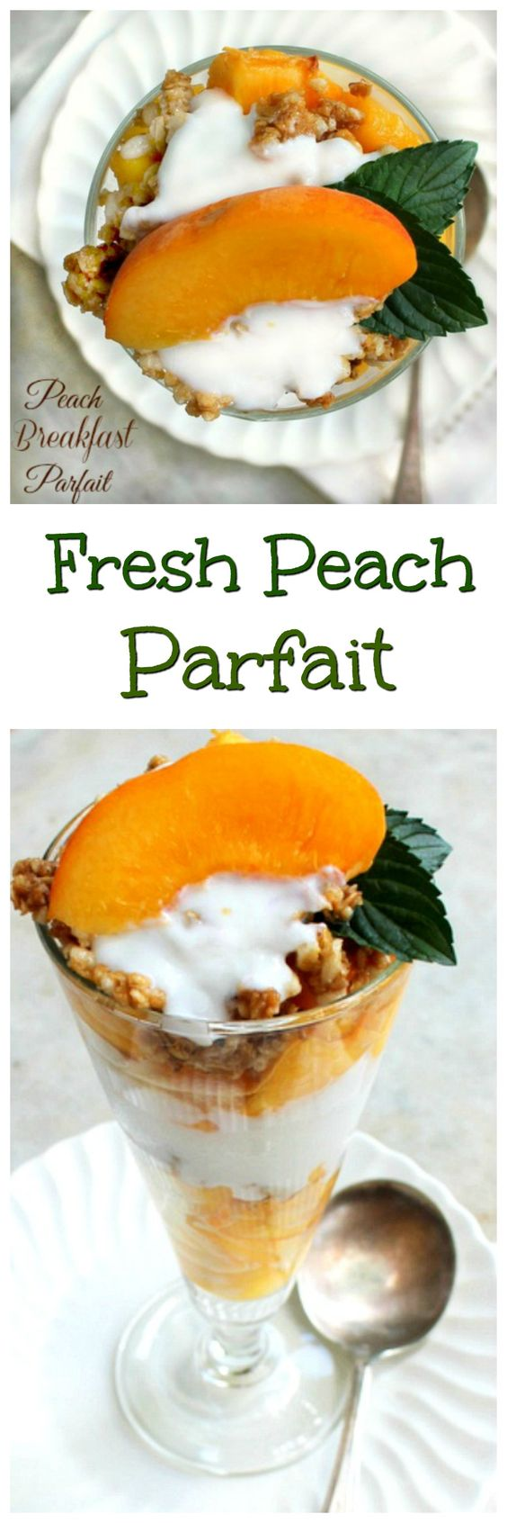 Yogurt ,fresh Peaches and granola make a delicious breakfast parfait or snack!