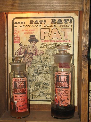 """Yuck! Tapeworms as a diet aid... """"In fact, the tapeworm is the modern era's first diet aid. The tapeworm diet got its start in the Victorian era when wealthy fashionistas began to look for ways to string those corsets tighter and tighter. Later, this weight loss method really picked up steam in the 1920′s when Flappers started to look for ways to get rid of those pesky, feminine curves."""":"""