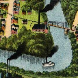 Birdseye Map of Houston, Texas (1891)