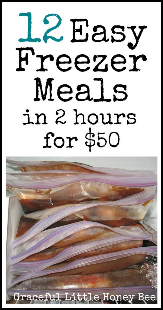 Learn how to make 12 easy freezer meals in 2 hours for $50 with free printable shopping and recipe lists.