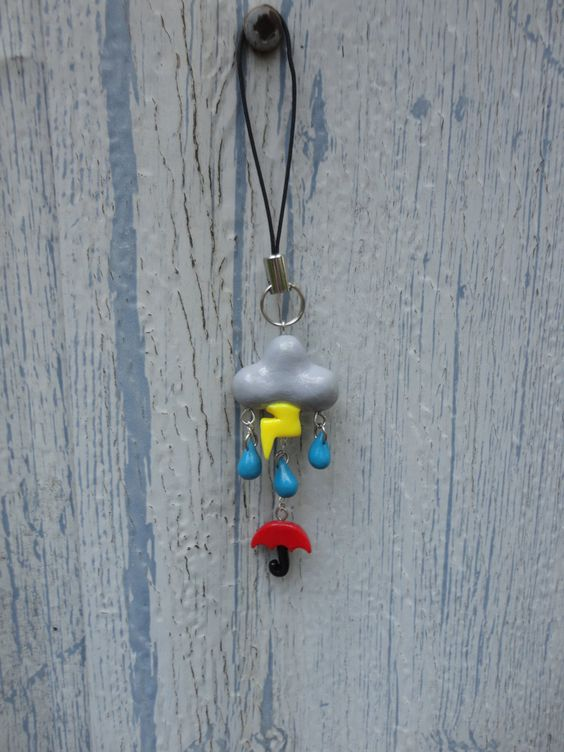 Rainy Day Cellphone Charm  Polymer Clay by LYDdesigns on Etsy, $14.00