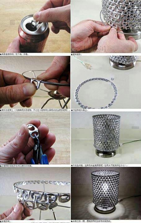 Recicla Tus Ideas. Lámparas con anillas de latas de refresco.