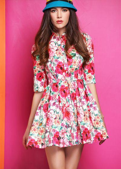 Morpheus Boutique  - Pink Floral Long Sleeve Silk Designer Dress, $156.99 (http://www.morpheusboutique.com/pink-floral-long-sleeve-silk-designer-dress/)