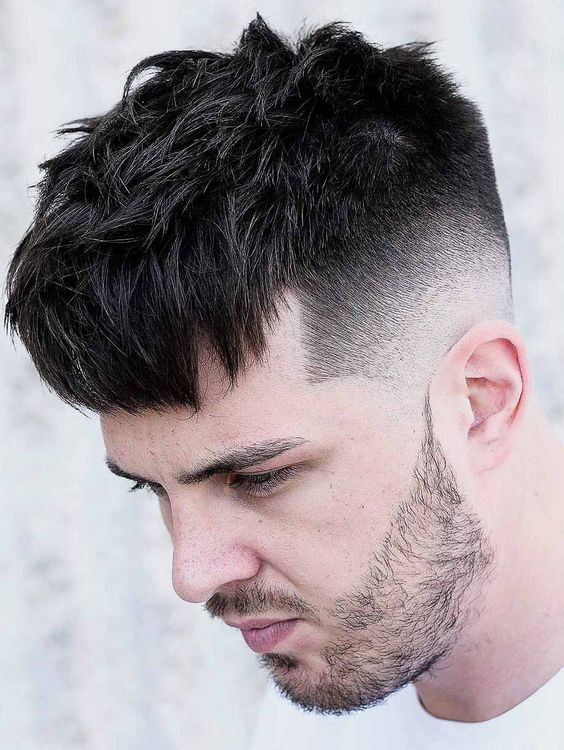 short mens hairstyle with beards