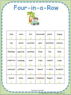 FREE end-of-year Four-in-a-Row game for summer vocabulary