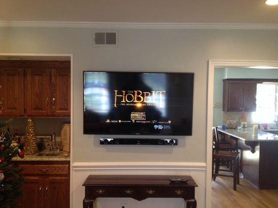 Samsung led tv and sound bar wall mount installation for Home bar installation