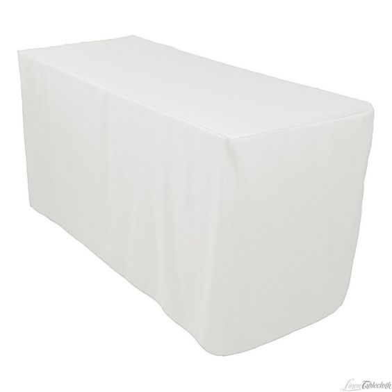 4 ft Fitted Polyester Tablecloth White for only $11.79 at LinenTablecloth.com