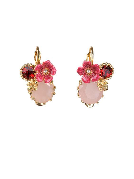 #LesNéréides #jewel #earrings #flower #stones #delicate #pink #enamel #garden #handmade #romantic  Shop on #www.lesnereides-usa.com