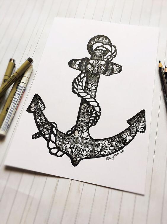 Zentangle Inspired Anchor by Hannjesch Designs (hannjesch.net)