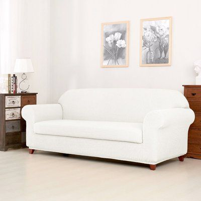 Winston Porter Jacquard Spandex Stretch Box Cushion Sofa Slipcover Slipcovers Cushions On Sofa Loveseat Slipcovers