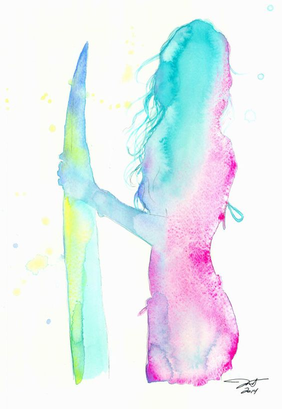 Fiji Surfer Girl, print from original watercolor fashion illustration by Jessica Durrant. This is really cool. I wish I was good at water color.: