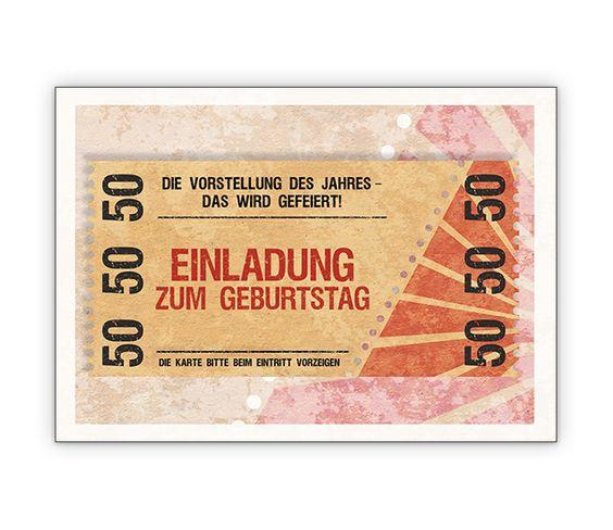 Im Coolen Ticket Look Party Einladungskarte Zum 50