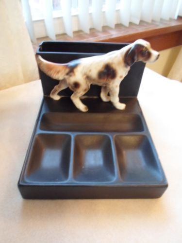 Vintage Hunt Club Ceramic English Setter Hunting Dog Desk Caddy Organizer