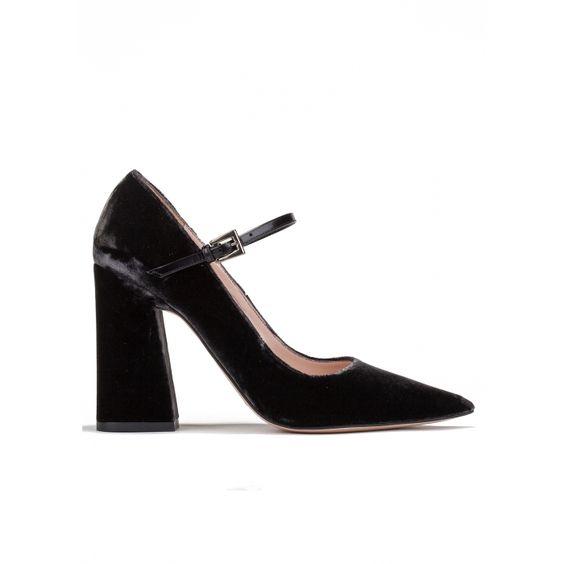 Zapatos de tacón alto en terciopelo gris