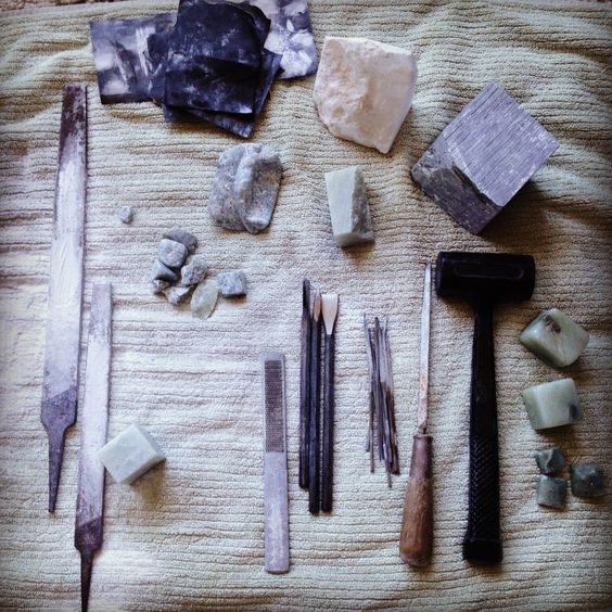 Stone carving tools and on