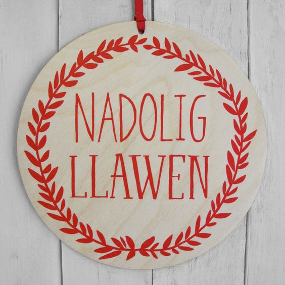 Nadolig Llawen Decoration, Welsh 'Merry Christmas' decoration, by Perris and Corr via Folksy, £9.50