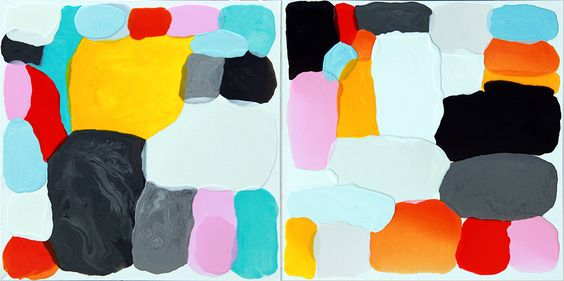 """""""You Are"""" 24x48""""diptych painting, poured Amy Goodwin"""