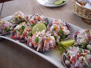 Conchas a la chalaca, peruvian food.