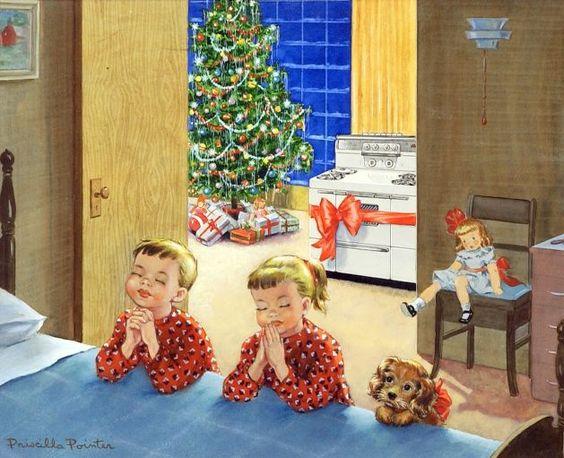 Pedidos de Natal, ilustração Priscilla Pointer (EUA, 1924) propaganda de linha branca.