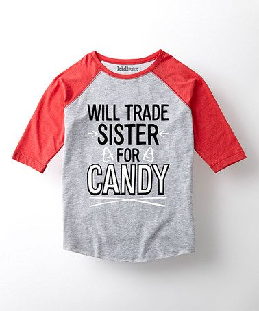 Loving this Athletic Heather 'Sister For Candy' Raglan Tee - Toddler & Kids on #zulily! #zulilyfinds