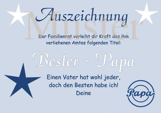 Urkunde Bester Papa der Welt DIN A4 Auszeichnung Diplom ...