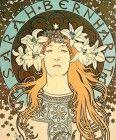Alphonse Mucha:  La cabeza y los hombros de Sarah Bernhardt llevando lirios en su pelo rubio y una túnica bordada, enmarcado por un halo de color azul pálido inscrito con su nombre y rodeado de estrellas de oro.