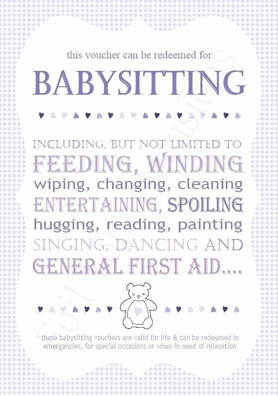 Babysitting Gift Certificate Template Inspirational Baby Sitting Vouchers Great For A Prizes For Baby Shower Babysitting Babysitting Coupon Baby Crafts