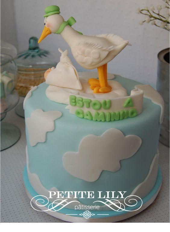Stork Cake/ Baby Shower Cake/ Bolo Chá De Bebê