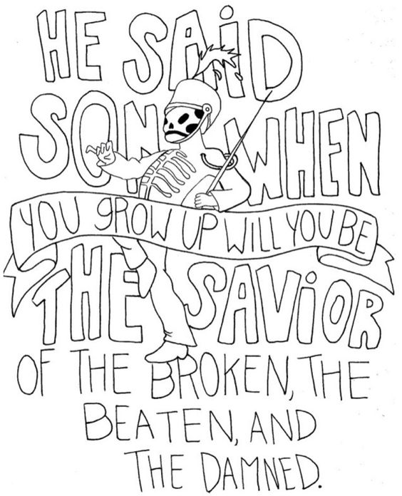 Lyrics draw and band on pinterest for Band coloring pages