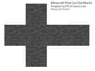 Minecraft stone block papercraft cut out lugares para for Minecraft cut out templates