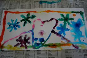 Pink and Green Mama: * Salt and Glue Watercolor Paintings!
