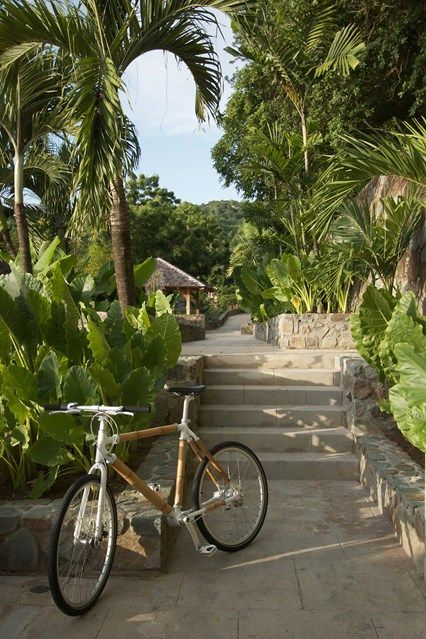 Cycling. Discover a redesigned bamboo house on the Caribbean island of Mustique on HOUSE - design, food and travel by House & Garden.
