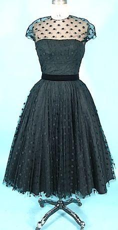 c. 1950's HARVEY BERIN Designed by KAREN STARK Black Dotted Swiss Net Dress. GORGEOUS!